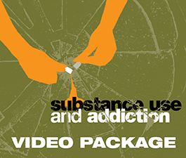 a square graphic representing 2018 Substance Use and Addiction Conference Video Package. Presentations plus 12.5 BACB/NASP/PSY CE credit.s