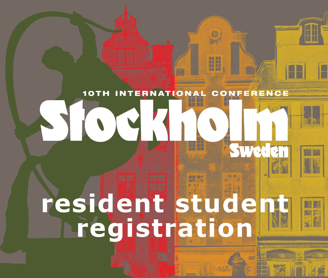 a square graphic representing International Conference 2019 Stockholm, Sweden. SWEDISH RESIDENT RATE FOR STUDENTS