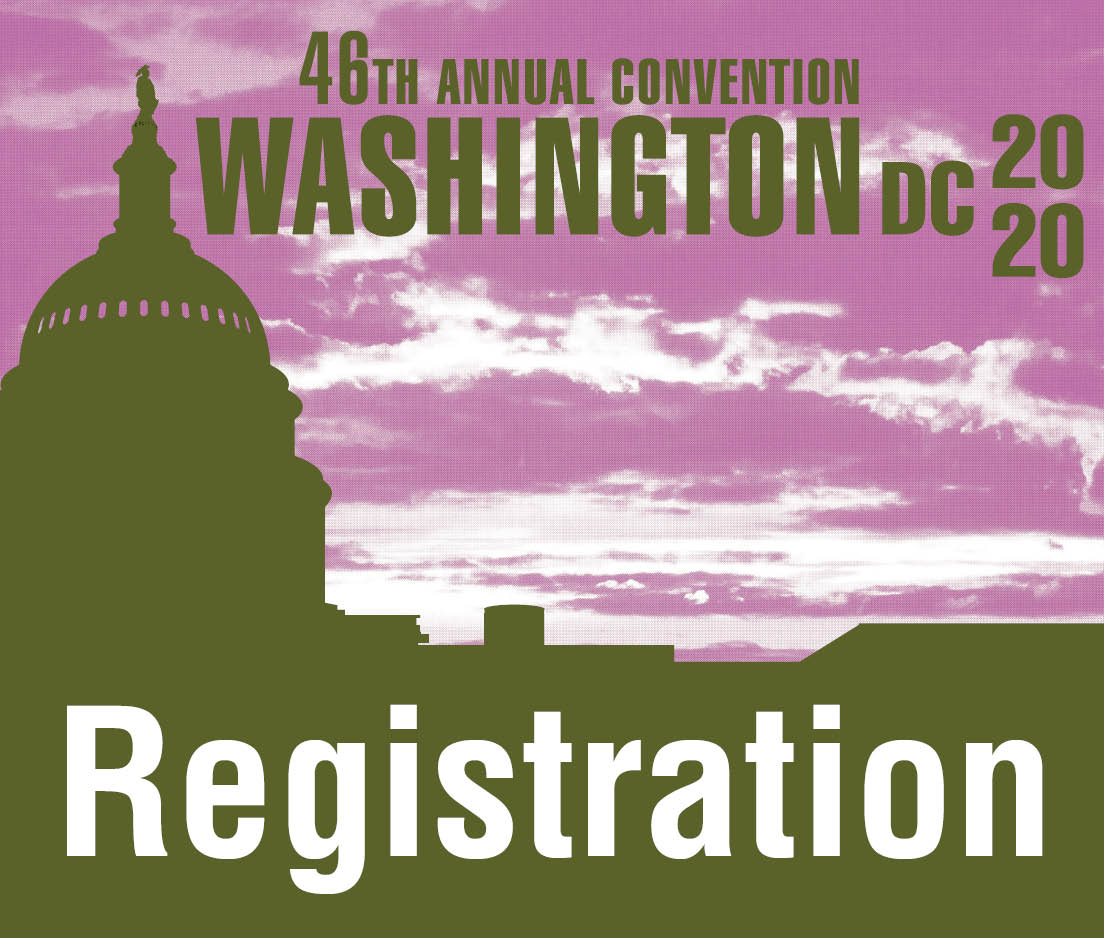 a square graphic representing Annual Convention 2020 Registration. FULL - Washington, D.C.