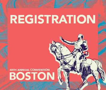 a square graphic representing Annual Convention 2022 Registration. FULL May 26-30, 2022.