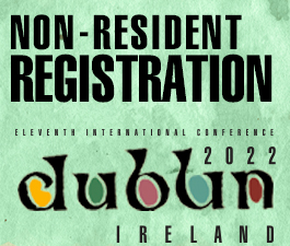 a square graphic representing International Conference 2021 Dublin, Ireland. FOR ALL REGISTRANTS OUTSIDE OF IRELAND