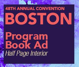 a square graphic representing Program Book Ad: Half page black and white, Annual 2022