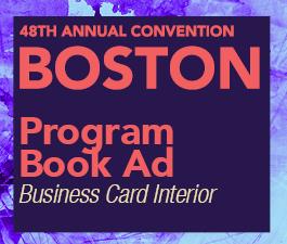 a square graphic representing Program Book Ad: Business card black and white, Annual 2022