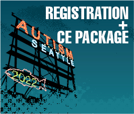 a square graphic representing Autism Conference 2022 Registration March 6-March 7, 2022. Includes CE Package for Qualifying Events