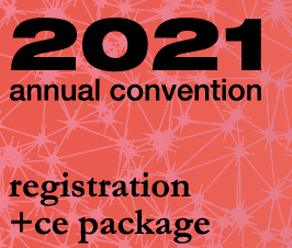 a square graphic representing Annual Convention 2021 Registration. FULL (May, 28th, 29th, 30th, and 31st) Virtual Convention including CE Package for Qualifying Events