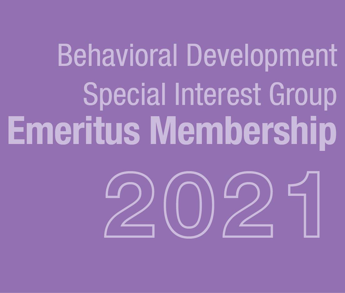 a square graphic representing Behavioral Development SIG Emeritus Membership 2021