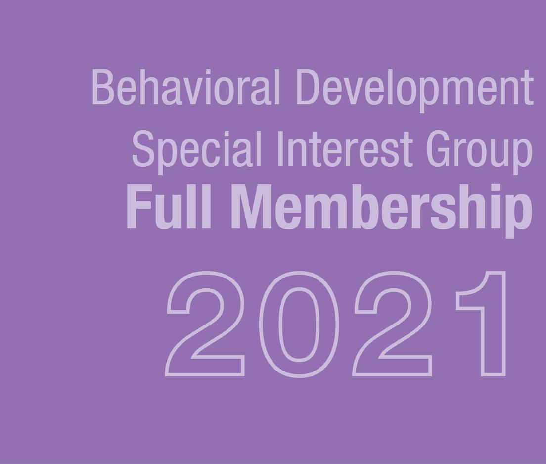 a square graphic representing Behavioral Development SIG Full Membership 2021