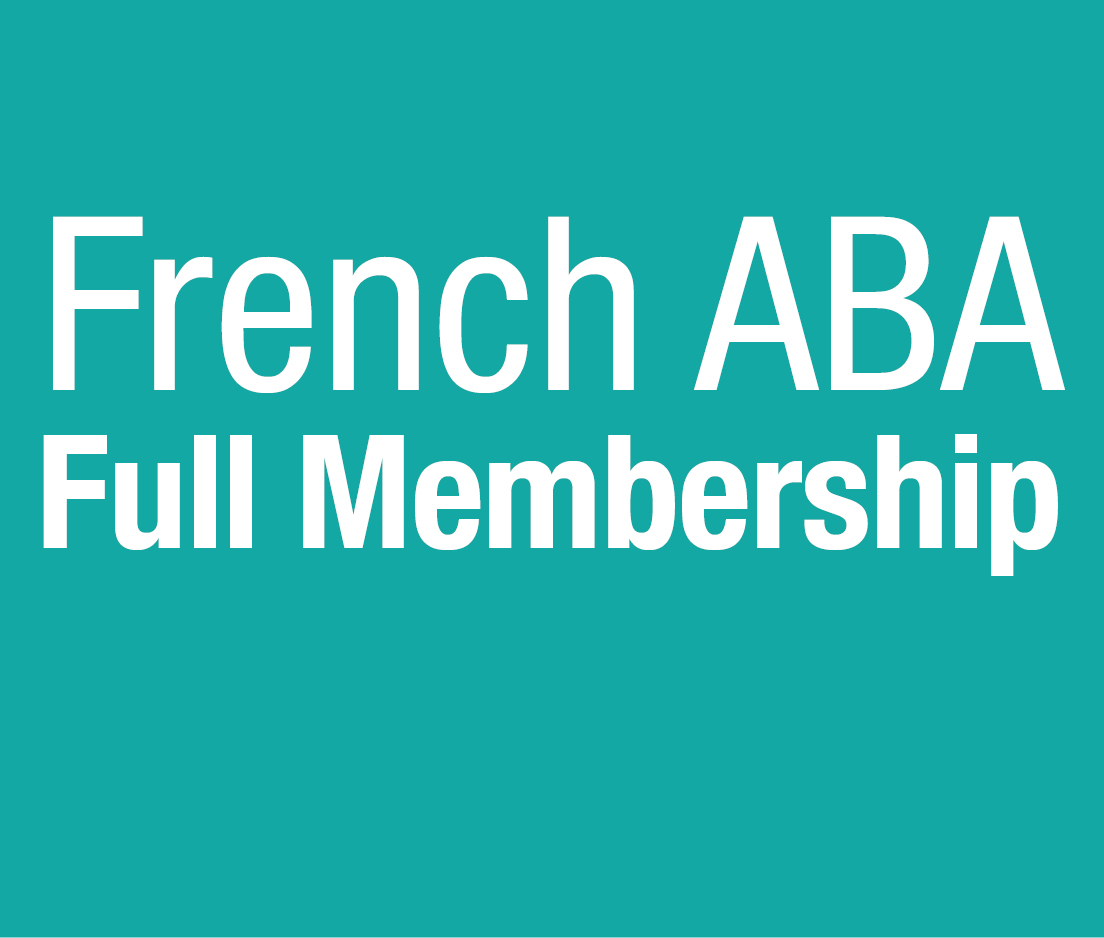 a square graphic representing French ABA Full Membership 2019