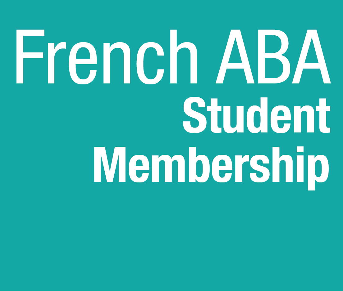 a square graphic representing French ABA Student Membership 2019