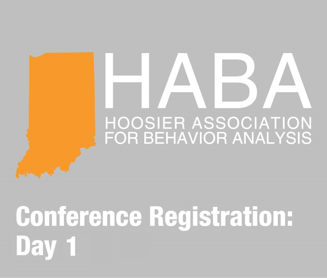 a square graphic representing HABA 2019 conference for 1 day