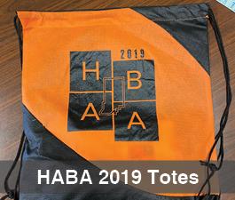 a square graphic representing HABA 2019 Totes