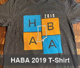 a square graphic representing HABA 2019 T-shirt - XL