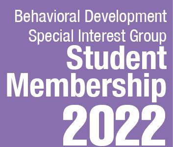 a square graphic representing Behavioral Development SIG Student Membership 2022