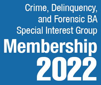 a square graphic representing Crime, Delinquency, and Forensic Behavior Analysis SIG Membership - 2022
